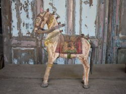 antique painted teak horse rajasthan